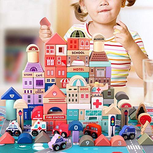 115 stuks houten bouwblokken speelgoed, houten blokken stadsleven houten bouwblokken educatief houten speelgoed, cadeaus voor kinderen, spelen met familie vrienden(115 x Baustein)