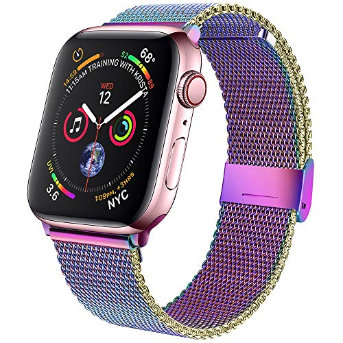 jwacct Bands Compatible for Apple Watch 38mm 40mm, Adjustable Magnetic Stainless Steel Bracelet Mesh Strap Sport Loop for Women/Men iWatch Series 6/5/4/3/2/1 and SE, Iridescent