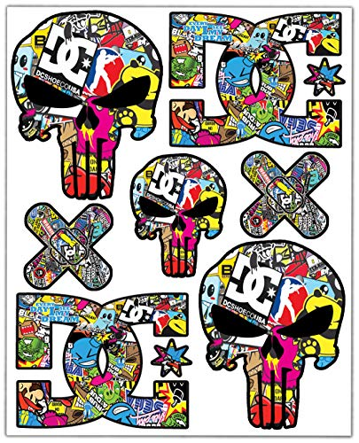 Biomar Labs® 7pcs Pegatinas Punisher Calavera DC Sticker Stickerbomb Vinilo Adhesivo Coches...