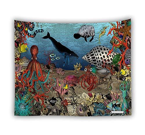 Hippie Psychedelic, grote rechthoekige print stof tapijt, 3D-geprinte mysterieuze onderwatermonster/toner/inktvis, Indian Art print wandschilderij, voor slaap- en woonkamer 150x130cm zoals getoond
