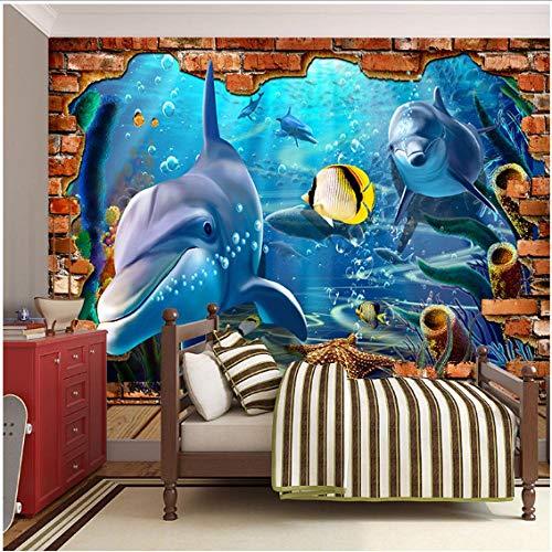 Newberli Espacio 3D Mundo Del Océano En Pared De Ladrillo Falso Mural Wallpaper Para Niños Dormitorio Sala De Estar Del Hotel Bebé Infantil Piscina Pared Deco