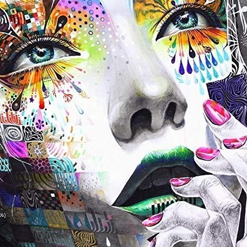 HGlSG Aquarel Moderne Muur Meisje Met Bloemen Olieverf Prints Schilderij Op Canvas Picture Art Living Prints Muur Foto voor A2 60x80cm