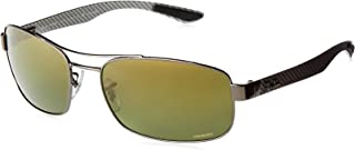 Ray-Ban Men's RB8318CH Chromance Mirrored Rectangular Sunglasses