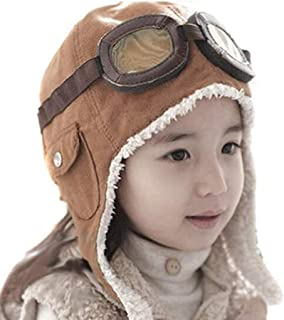 LIWEIKE Children Pilot Aviator Hat, Warm Baby Kid Winter Earflap Pilot Cap Aviator Hat Beanie Flight Helmet