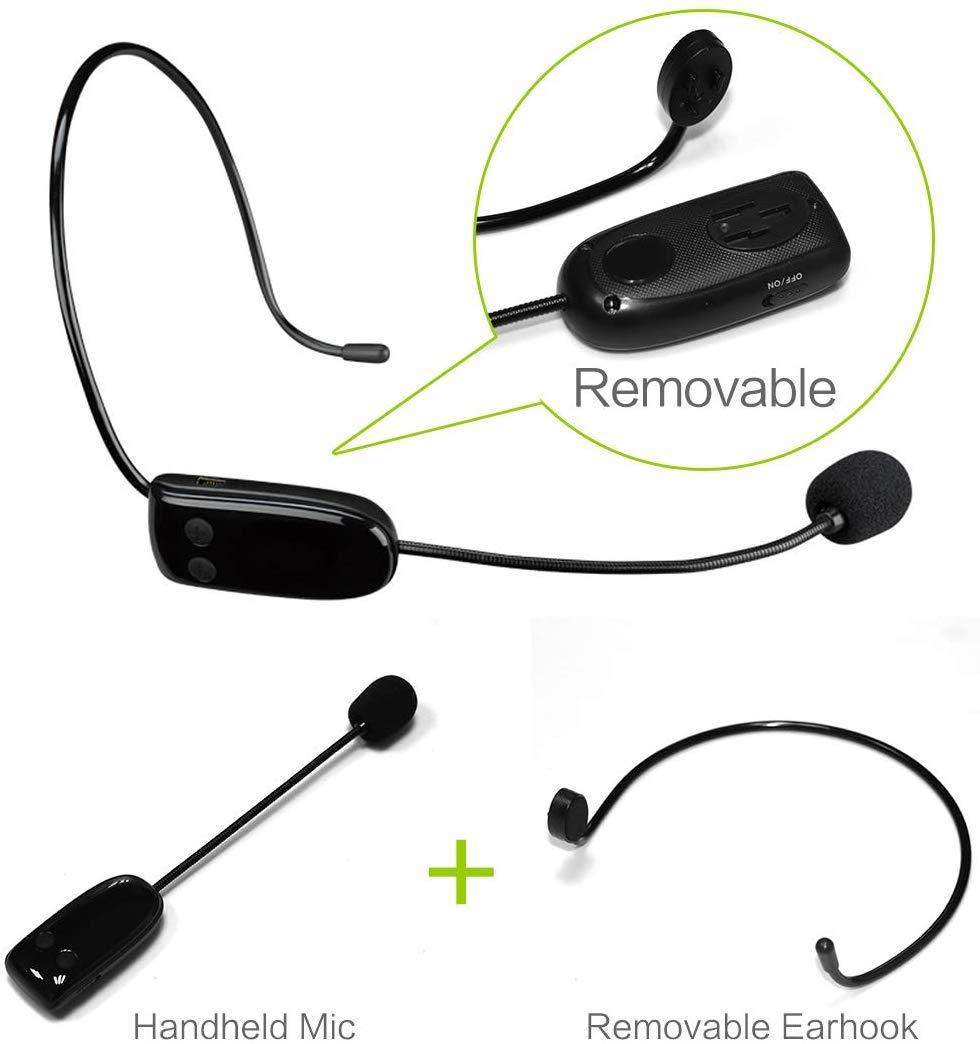 etc. aula 18 W 4400 mAh recargable Bluetooth altavoz amplificador potente mini sistema Pa port/átil banco de energ/ía impermeable para profesores yoga Amplificador de voz inal/ámbrico con auriculares de micr/ófono UHF