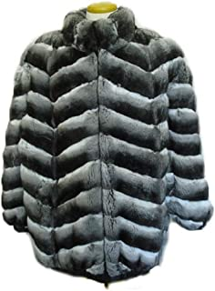 Mens ranched Empress Chinchilla Fur Jacket Coat Hood Size All Reversible to Black Leather