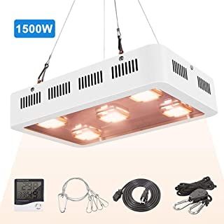 X5 1500W COB LED Grow Light UV Full Spectrum COB LED Plant Light with On/Off Switch with Temperature and Humidity Monitor, Hanging Hook Kit, Adjustable Rope, White