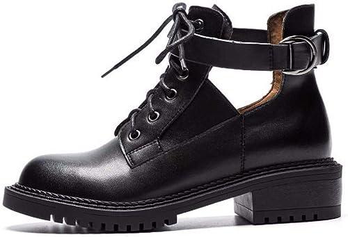 HBDLH Chaussures pour pour Femmes PanseHommest Tête Carrée épais Et Peu De Bottes Creusé à Fond Plat De Chelsea Antique Bottes Chaussures De Unique  meilleurs prix