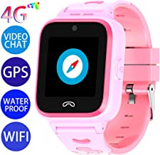 Vowor Kids Smart Watch, 4G WiFi GPS LBS Tracker SOS Emergency Call Children Smartwatches with Camera IP67 Waterproof Watch for Boys Girls, Compatible with Android/iPhone iOS (Pink, V-01)