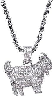 Gioielli Moca Ghiacciato Pendente di Capra di personalità Collana placcata in Oro con Diamante simulato Bling CZ Placcato ...