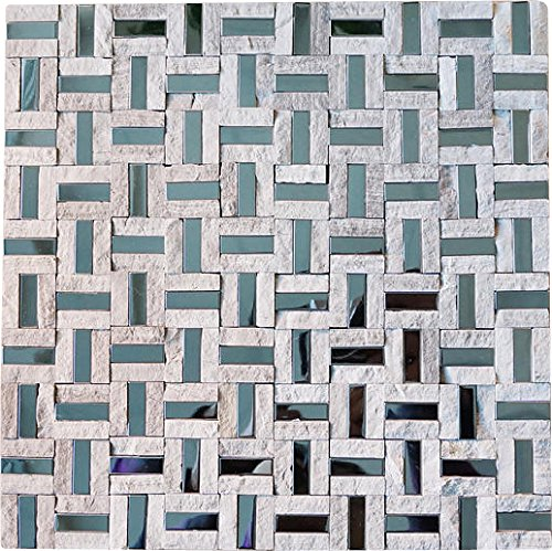 Split Faced Grey Stone & Stainless Steel Authentic Glass Mosaic Tiles for Bathroom and Kitchen Walls Kitchen Backsplashes