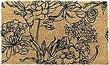 Entryways - Zerbino, in fibra di cocco, tessuto a mano, motivo: bouquet di fiori, 40 x 60 ...