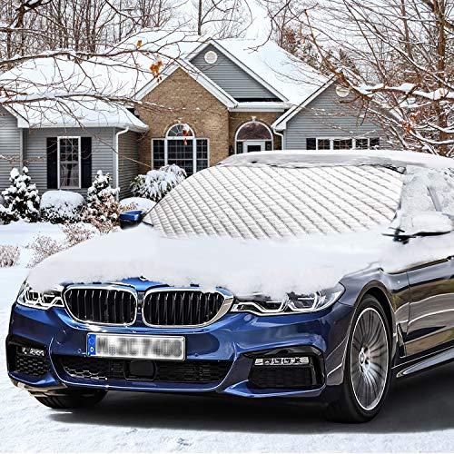 Anti-UV y enfriamiento rápido - La cubierta del parabrisas bloquea la mayoría de los rayos UV en todas las estaciones. Hace que tu coche sea más fresco en verano; no necesita esperar cuando quiere conducir. Portátil - La cobertura de parabrisas se aj...