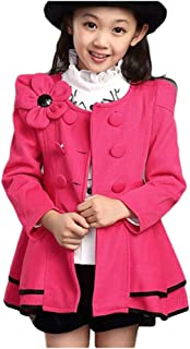 LSERVER Girl's Elegant Faux Fur Woolen Collar Fashion Warm Blended Winter Coat Lace Flower Princess Bowknot Jacket
