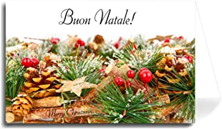 Italian Greeting Card - Holiday Cherries, Cones and Pine (Florentine Cursive Font) 5 Cards