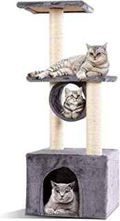 Cat Tree Triple-Platform Condo Kitten Pet House Cat Tower Furniture with Sisal-Covered Scratching Post (gray)