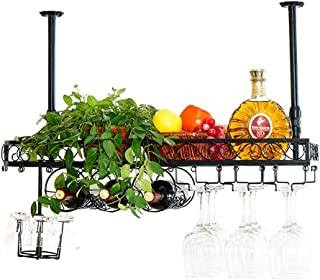 FFYN Organisation de Rangement de Cuisine Plafond Casiers à vin Support Mural Métal Vintage |Porte-Bouteille de vin |Cad...