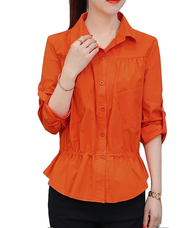 [美しいです] レディース 女性 シャツ 長袖 綿麻 ゆたっり 夏 秋 冬 フリル
