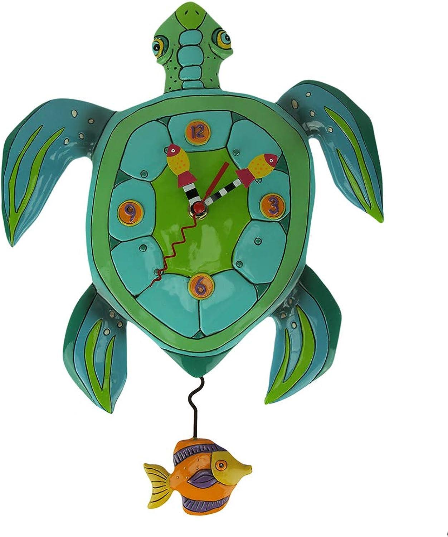Allen Designs  Sup Dude? Whimsical Turtle Pendulum Wall Clock