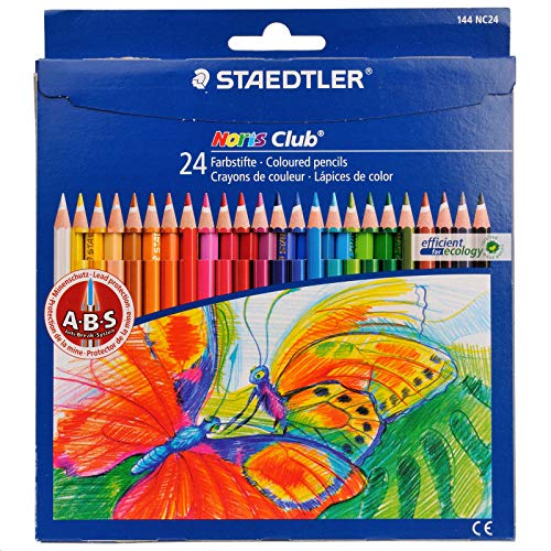 STAEDTLER Noris Club 24 Coloured Pencil Art Artist Colouring Sketch Drawing for School Office Color Painting Supplies
