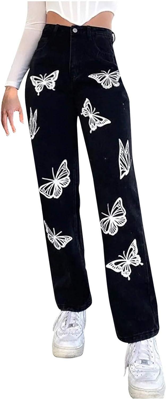 FUNEY Plus Size Women Jeans High-Rise Slim Straight-Leg Jeans Pants Butterfly Print Solid Color Denim Regular Pants