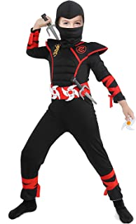 Tacobear Déguisement Ninja Costume Enfant Soldat Ninjas Assassin Déguisements Halloween Toussaint Party Soirée 3-12 Ans