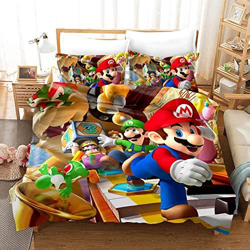Dszltf Bettdecke 3 Extra Große Mario-Bettwäsche-Sets Mit Reißverschluss Und 2...