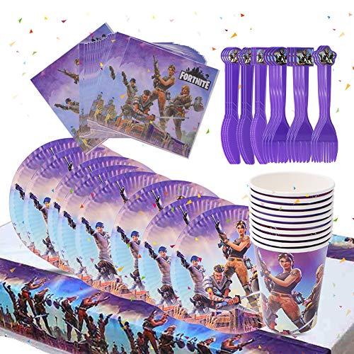 SZWL Video Gaming Partyzubehör Set Einschließlich Tischdecke, Teller, Tassen, Servietten, Gabeln und Messer Video Gaming Party Supplies für Kinder
