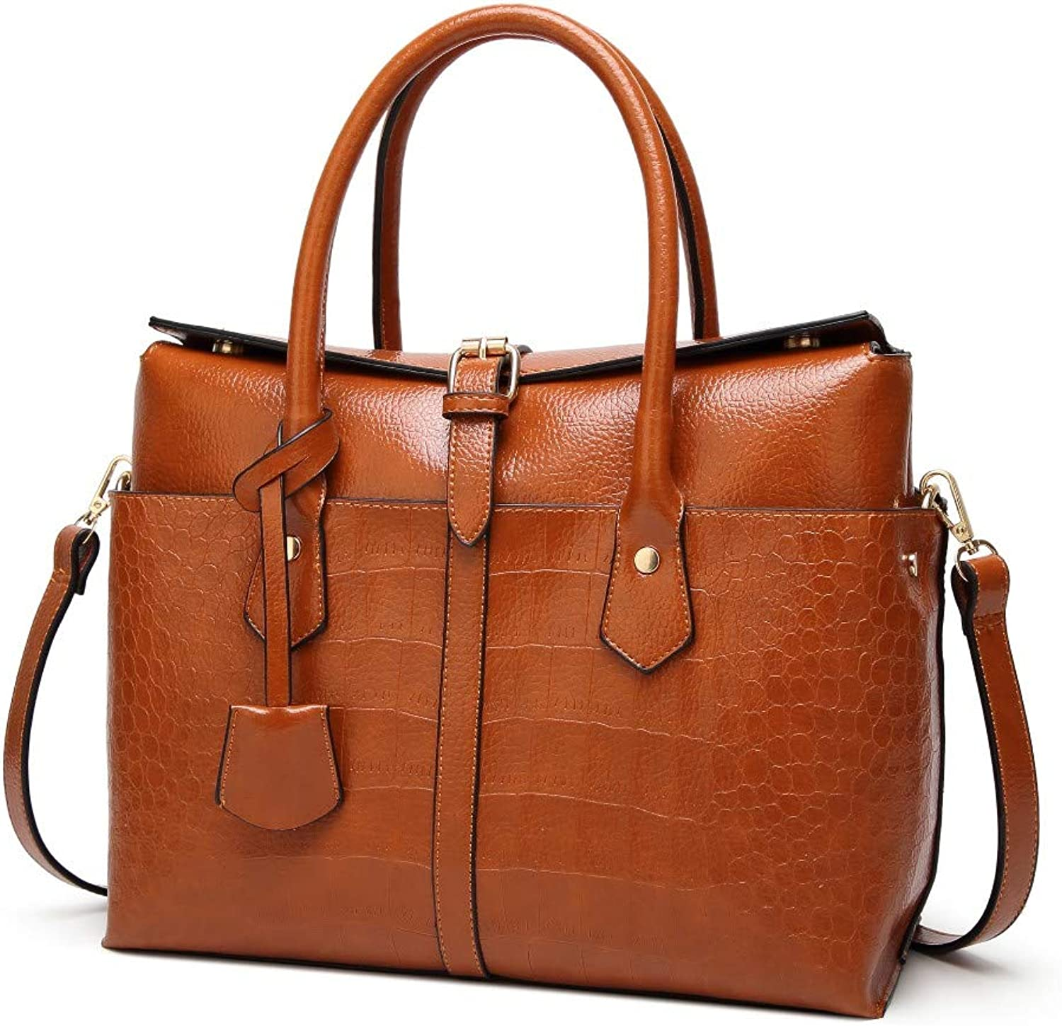 Shoulder Bag,Women Vintage Handbag,Ladies CrossBody Bag Casual Tote,Female Fashion Crocodile Pattern Messenger Bag TopHandle Bags Large Capacity Brown