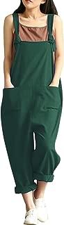 Women's Linen Wide Leg Jumpsuit Rompers Overalls Harem Pants Plus Size