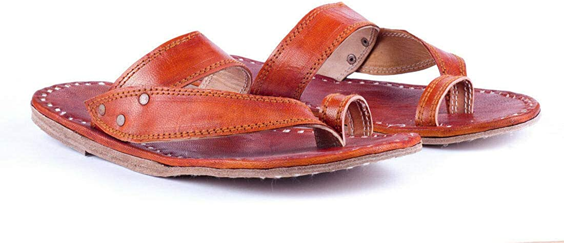 Zenith_Leather Brown Mens Kolhapuri Slippers Ethnic Flip Flop Slippers Indian Slippers Natural Leather Chappal