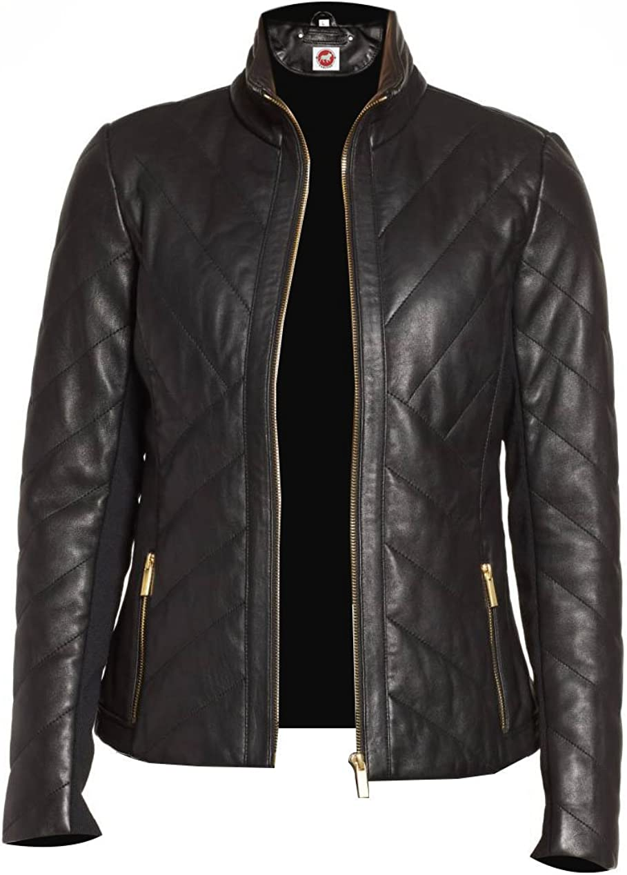 Takitop Nyx Black Quilted Classic Designer Real Leather Jacket Women Missy Plus Size