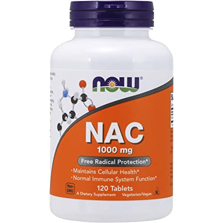 NOW Foods Supplements, NAC (N-Acetyl-Cysteine) 1,000 Mg, Free Radical Protection, 120 Tablets