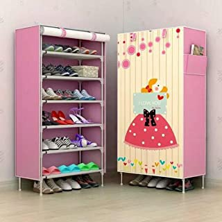 Aysis Multipurpose Portable Folding Shoes Rack 6 Tiers Multi-Purpose Shoe Storage Organizer Cabinet Tower with Iron and No...