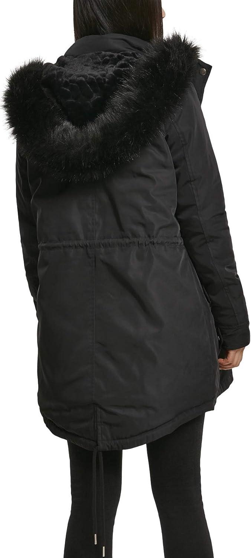 Urban Classics Damen Parka Ladies Fauy Fur Winter-Mantel Schwarz (Black 00007)