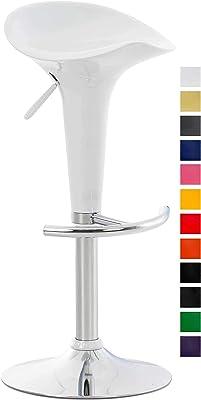 Relaxdays 10022917/_49 Set 2 Sgabelli da Bar Altezza Regolabile Girevoli con Schienale in Metallo HxLxP 104 x 55 x 39 cm Bianco