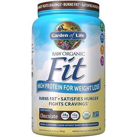 Garden of Life Raw Organic Fit Powder, Chocolate - High Protein for Weight Loss (28g) Plus Fiber, Probiotics & Svetol, Organic & Non-GMO Vegan Nutritional Shake, 20 Servings