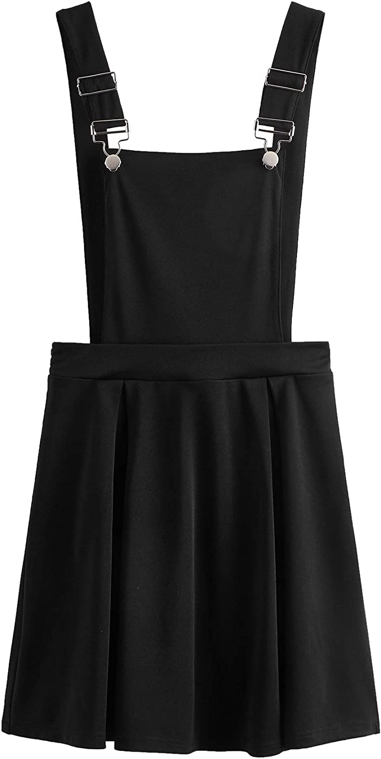 Romwe Women's Cute A Line Adjustable Straps Pleated Mini Overall Pinafore Dress