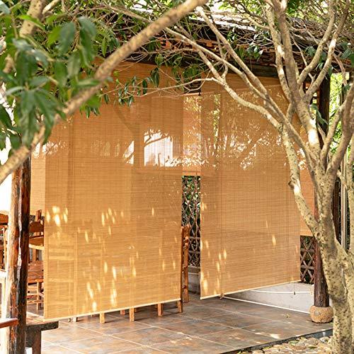 ZXXL Persiana Enrollables Bambú Persiana Enrollable de Bambú de Estilo Japonés, 80cm / 100cm / 120cm / 130cm / 140cm de Ancho Cortina Enrollable Exterior para Patio/Gazebo/Balcón/Pérgola