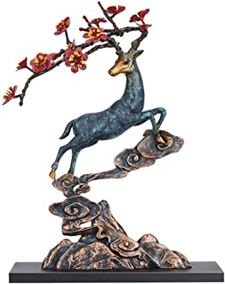 Handicraft Creative Abstract Metal Cast Brass Animal Deer Statue Collectable Table Decor Sika Buck Sculpture for Living Room Home Decorations and Office Business Gift Elk Stag Figurine (deer statue 1)