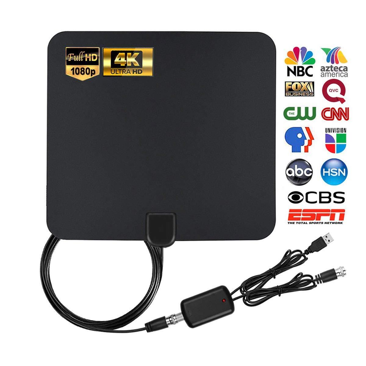 MEGAFEIS Antena de TV, antena de TV digital HDTV amplificada, antena de TV para interiores con canales locales de alta definición 4K 1080P HD VHF UHF, rango de 80 millas con amplificador