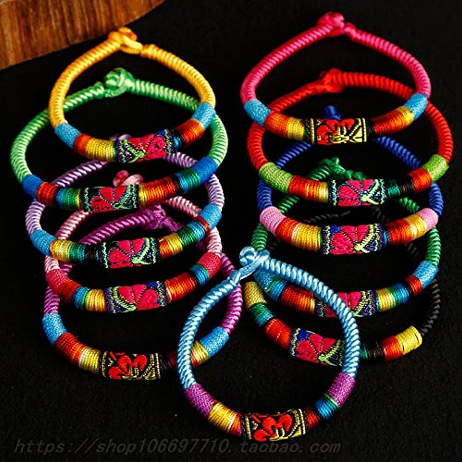 Colorful embroidery thread bracelet wholesale ethnic wind handmade cloth bracelet wax cord bracelet colorful bracelet