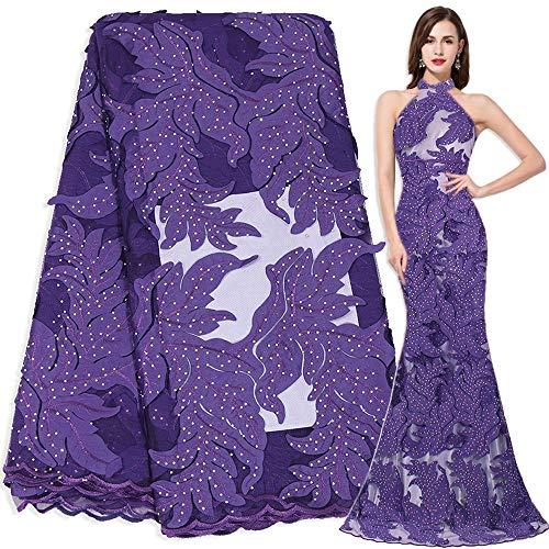 Französisch Tüll Gewebe 3D Latsch African Womem Abend Kleid Designer Schnürsenkel Fabrics (Color : Purple, Size : 5Yards)