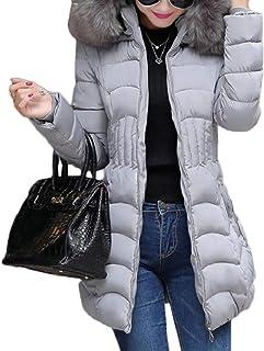 maweisong レディースロングスリーブフォークスファーカラースリムフィットミッドロングダウンジャケットコート