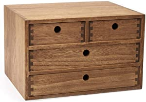 Kirigen Drak Brown Wood Desktop Storage Cabinet/Workspace Document Office necessity Organizer with 4 Drawers/Home,office Letter Mail Sorter with 3 levels/Hold Makeup Box (BR, 3-layer &4 drawers)
