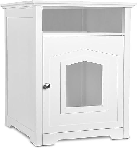 popular Arf Pets Designer sale Enclosed 2021 Cat Litter Box Furniture House with Table, Cat Washroom Hidden House Enclosure, White sale