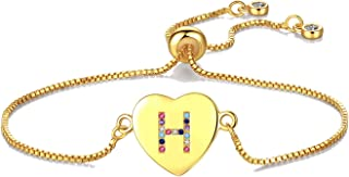 Gold CZ Heart Initial Bracelet A-Z Adjustable Colorful Crystals Stone Jewelry for Women