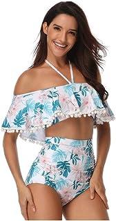 Beach Bathing Suit Swimwear High Waist Cheeky Bottom Floral Printting Tankini With Flouncing\ Elastic Blue Women's Sexy A Line Neck Halter Neck Bikini Comfortable and Stylish