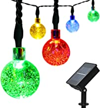 easyDecor 2 Packs Globe Solar String Lights 30 LED 21ft 8 Mode Crystal Ball Christmas Fairy String Lights for Outdoor Xmas Landscape Garden Patio Home Holiday Path Lawn Party Decoration (Multi color)
