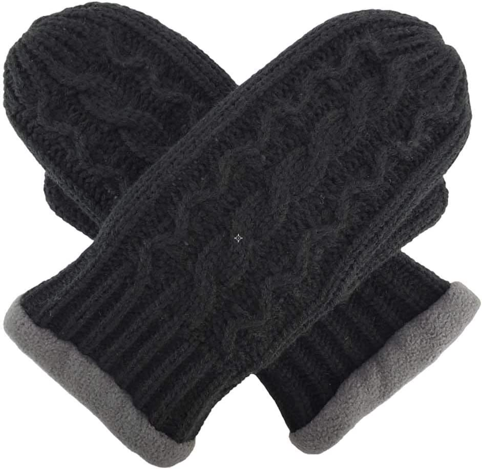 JEONSWOD Womens Knit Mitten with Thinsulate Fleece Lining and Cable Design Elastic on Wrist Prevent the Cold Air in